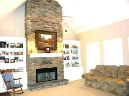 natural stacked stone veneer fireplace white marble