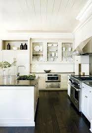 dark hardwood floors kitchen white cabinets. White Kitchen. Dark Wood Floors. Plank Ceiling. Hope Our Floors Looks This Pretty Hardwood Kitchen Cabinets E