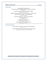 Culinary Arts Student Resume Sample Samples Flexible Template