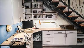 office man cave. Home Office Man Cave Room Carved From Underutilized Space Under The Stairs