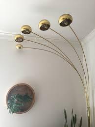 vintage mid century modern brass arc orb floor lamp spider