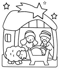 Baby Jesus Manger Scene Coloring Page Free Printable Pages