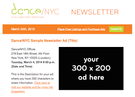 ad sample sample standard ad package and sample newsletter ad dance nyc