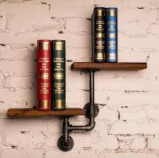 rustic wall shelves rustic wall mounted iron pipe double wood wall shelves rustic wall shelf diy