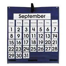 Calendar Numbers For Pocket Chart Carson Dellosa Publishing Cd 5605 Monthly Calendar 43 Pocket Chart With Day Week Cards Blue 25 X 28 1 2