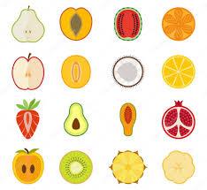 Vektör meyve Icon set - armut, şeftali, kayısı, karpuz, portakal ...