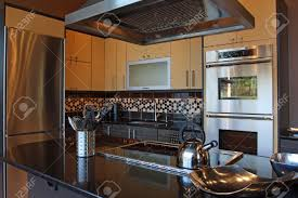 Kitchen And Granite Modern Luxury Kitchen With Stainless And Granite Stock Photo
