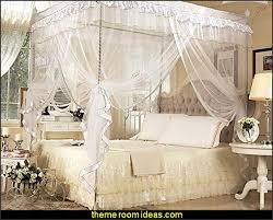 romantic master bedroom with canopy bed. Romantic Bedroom Ideas White Four Corner Square Princess Bed Canopy Mosquito Netting Master With