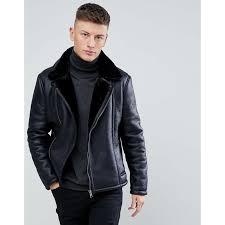 new look new look shearling biker jacket in black black men jackets coats reqgzr