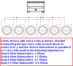 how do i wire 6 dvc subs to 2ohm or 1ohm
