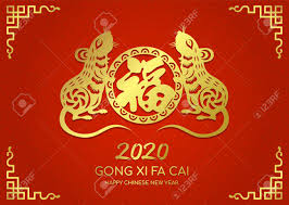 chinese new year card 2020 happy chinese new year 2020 card with gold paper cut twin rat