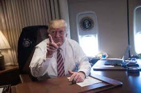air force one office. President Donald Trump Poses In His Office Aboard Air Force One At Andrews Base
