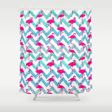 teal chevron shower curtains. Tropical Pink Neon Flamingos Teal Glitter Chevron Shower Curtain Curtains