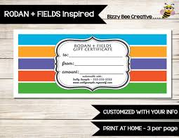 Customized Gift Certificates Rodan And Fields Gift Certificate Gift Card Customized Print At Home Customer Discount Vip Perks Coupon Direct Sales