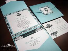 Tiffany Blue And Black Wedding Invitation A Pocket Fold Style With Damask Design