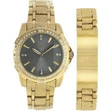 elgin men s large round grey dial analog watch and bracelet set elgin men s large round grey dial analog watch and bracelet set gold bracelet