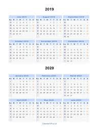 Split Year Calendars 2019 2020 Calendar From July 2019 To