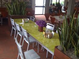 custom art glass and stainless dining table