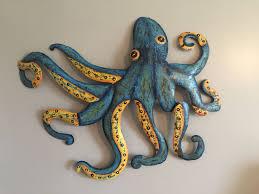 hand painted metal octopus wall art