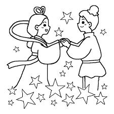 織姫と彦星1白黒七夕たなばたの無料イラスト夏の季節行事素材