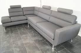 Xxl Sofa Couch Webstoff Grau Inkl 3 X Kopfstütze