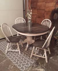 from simple oak table and chairs to a decorative rustic dining set this charming set was given new life with snow white milk paint and pitch black glaze