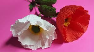 Make A Paper Poppy Flower How To Make Poppy Crepe Paper Flowers Flower Making Of Crepe Paper Paper Flower Tutorial