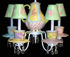 alice in wonderland colorful chandelier with cups and teapot we re interesting ideas