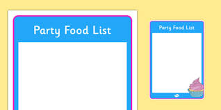 Party List Template Editable Birthday Party Food List Birthdays Food List Food
