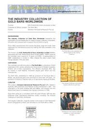 industry collection of gold bars worldwide