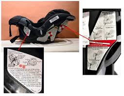 embrace 35 car seat base. figure 1: car seat without base. bottom left: label explaining correct carry handle position. right: diagram showing incorrect position embrace 35 base o