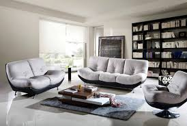 Modern Living Room Apartment Design With Black And White Leather Designer Living Room Sofas