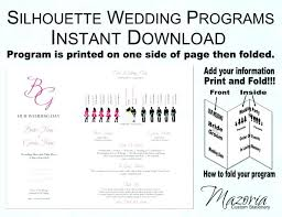 Invitations Excellent One Page Wedding Program Template