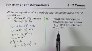 write equation of parabola with vertex and y intercepts