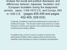 comparative essay midterm review ppt video online  analyze the social and political likenesses and differences between ese feudalism and european feudalism during the
