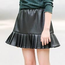 b a387 autumn new fashion wild leather skirt girls blcak hip skirts lady sweet skirts winter kids