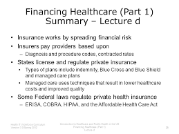 financing healthcare part 1 summary lecture d