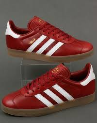 adidas gazelle leather trainers oxblood red white gum