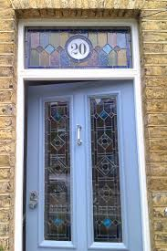 entry door stained glass replacement. stained glass door with house number, balham entry replacement t