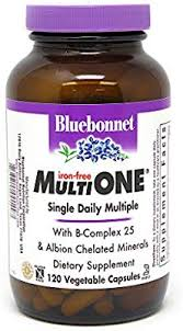 Bluebonnet Nutrition <b>Multi One</b> (Iron Free) Vegetable Capsules ...