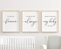I'll Love You Forever printable, Nursery Wall Art, Nursery Decor, Baby