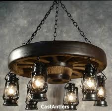 30 hanging lantern reion wagon wheel chandelier