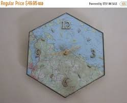 Nautical Chart Clock Vintage Chart Of Lake Winnipesaukee