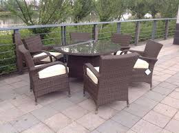 paradise 6 seater round brown or grey rattan garden furniture dining set brand new in box