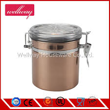 elegant copper painting stainless steel tea tins canister with arylic flower lid food storage container