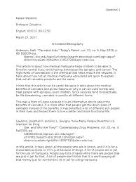 annotated bibliography cannabis drug medical cannabis