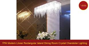 7pm modern linear rectangular island dining room crystal chandelier lighting lighting best ers