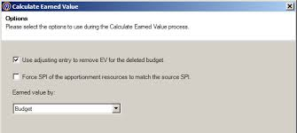 earned value calculator options for earning value in deltek cobra