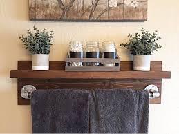 Rustic Industrial Bath Towel Rack, Bathroom Shelf, Rustic Home Decor,  Industrial Shelf, Rustic Wooden Shelf, Industrial Decor, Towel Rack