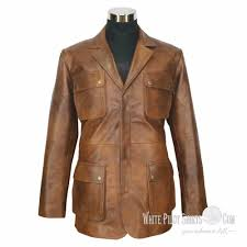 details about douglas blazer leather jacket men military style vintage antique brown 4 pockets